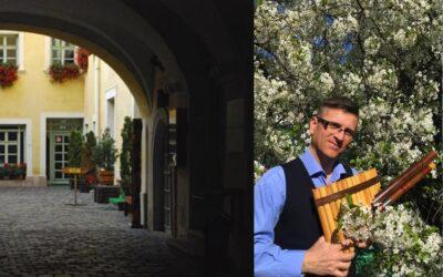 Kövi Szabolcs pihenőszékes koncertje Sopronban az Erdészeti Múzeum japán kertjében